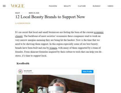 In the press - 12 Local Beauty Brands to Support Now